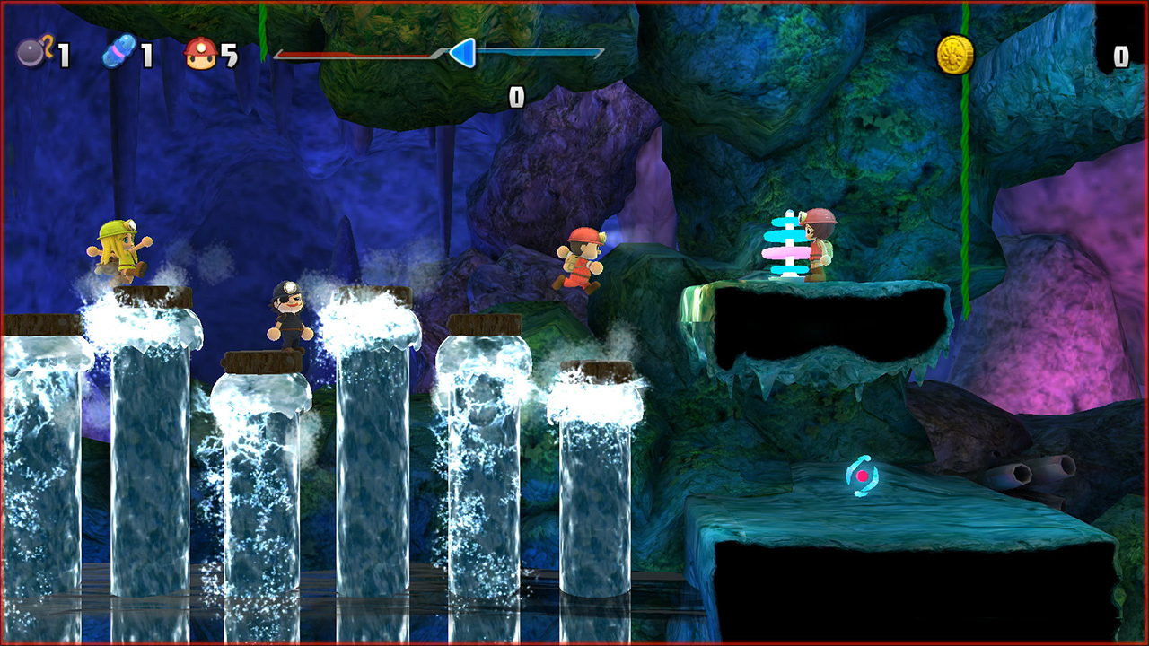 spelunkette and friends jumping over waterfalls