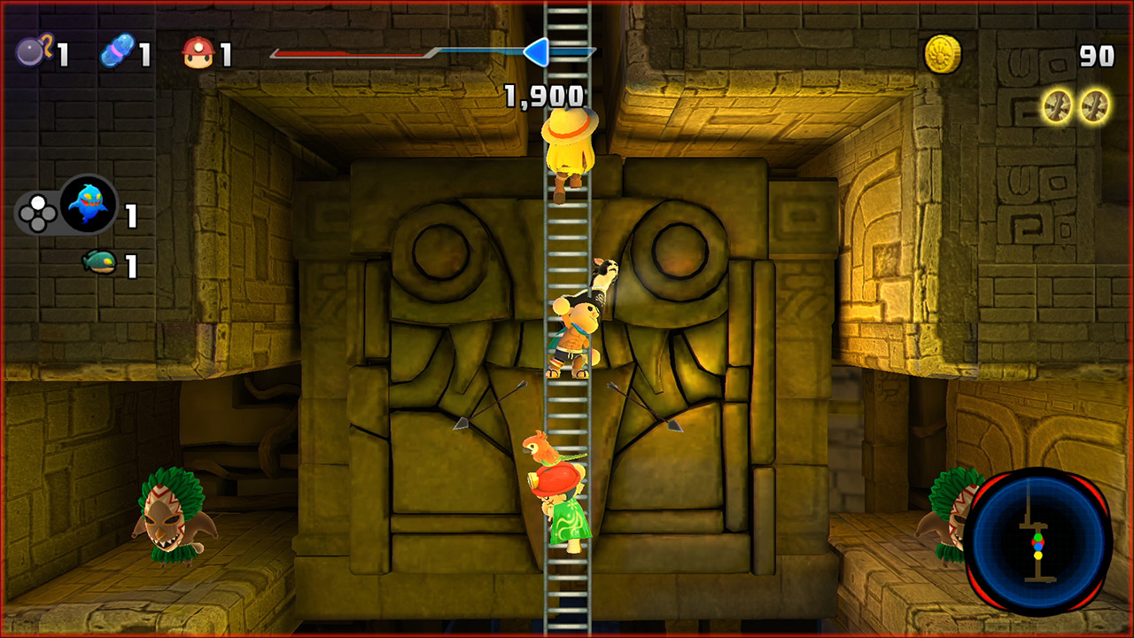 spelunkette and friends climbing latter in ancient temple 02