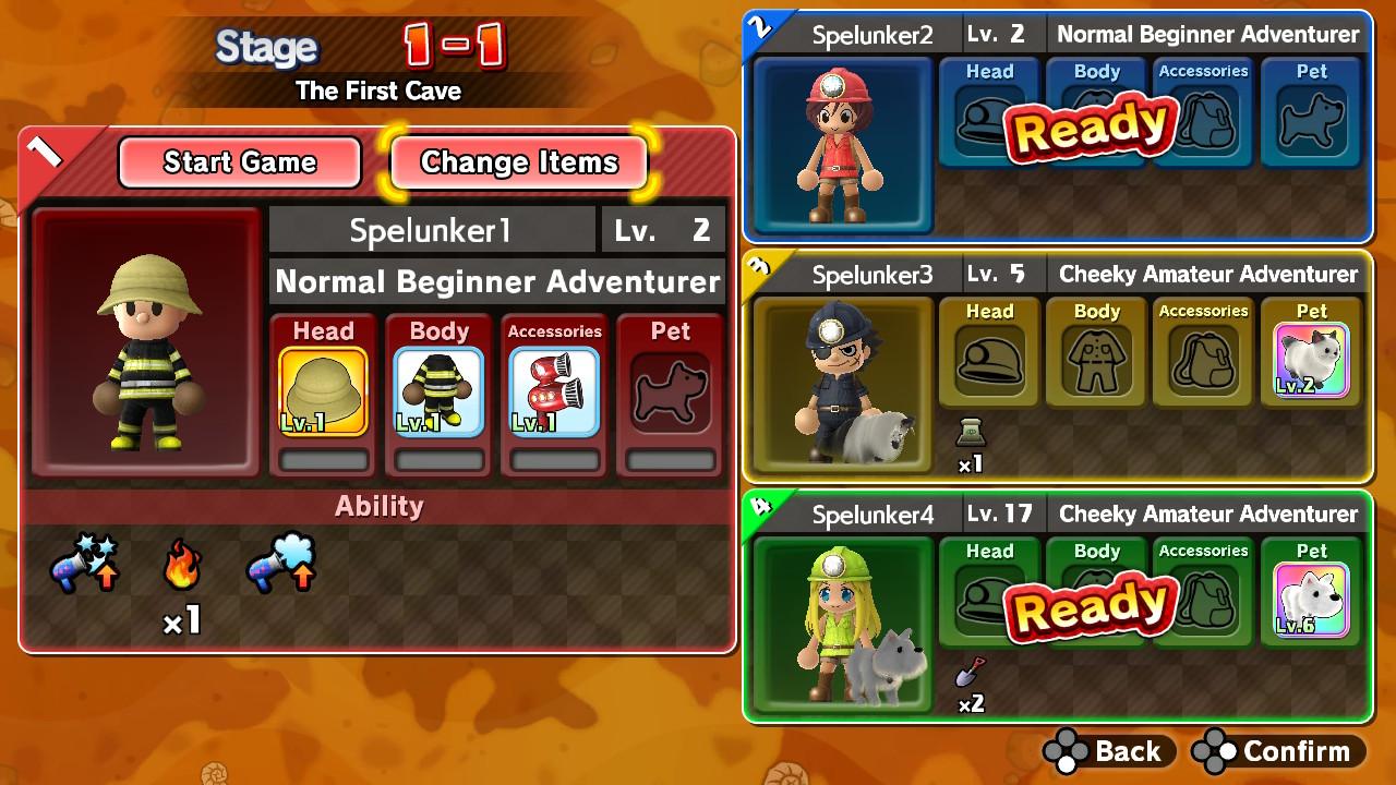 spelunker multiplayer selection screen